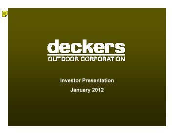 Analyst Presentation - Deckers Outdoor Corporation