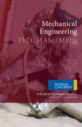 Mechanical Engineering PhD / MASc / MEng - Ryerson University