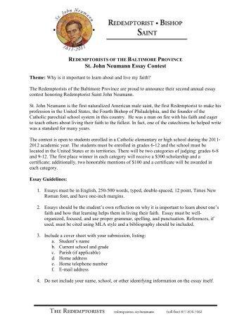 saint john neumann essay contest The academic merits of st john neumann regional school students in the american legion americanism essay contest, students mary st matthew's ucc.