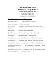 New Mexico Young Actors Rapunzel Study Guide Touring April 29 ...