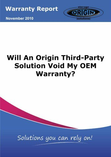 Will An Origin Third-Party Solution Void My OEM Warranty?