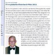 Ehrenplakette Rheinland-Pfalz 2011 - Bluhm Systeme GmbH