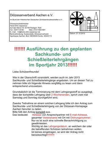 und Schießleiterlehrgängen im Sportjahr 2013!!!!!! - Bund der ...