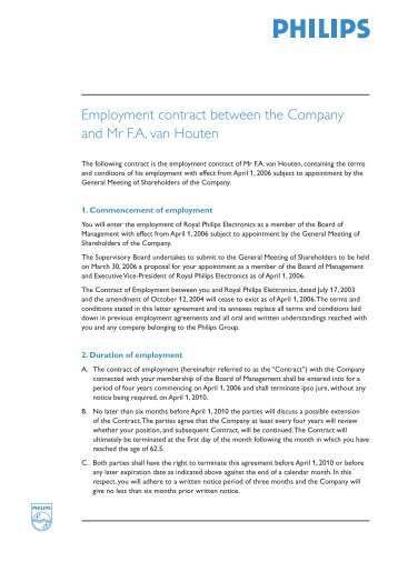 Employment contract G.J. Kleisterlee - Philips