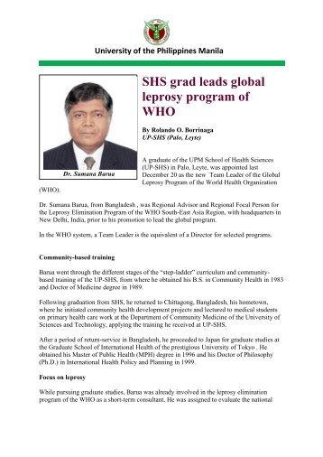 SHS grad leads global leprosy program of WHO
