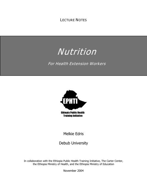 LECTURE NOTES Nutrition For Health
