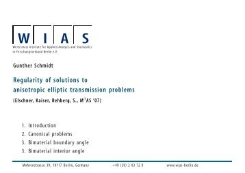 Gunther Schmidt Regularity of solutions to anisotropic elliptic ... - CIRM