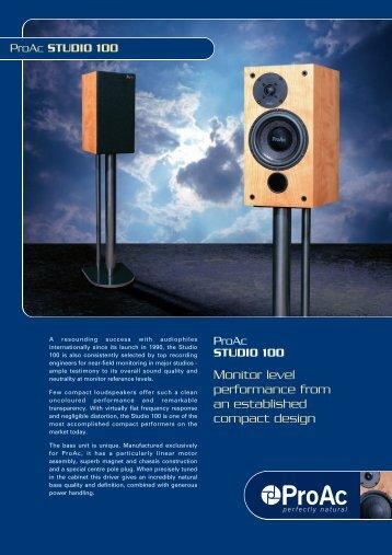 ProAc Studio 100 DataSheet.pdf - Igloo Audio