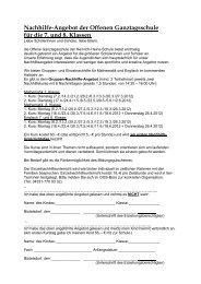Nachhilfe-Angebot der Offenen Ganztagsschule für die 7. und 8 ...