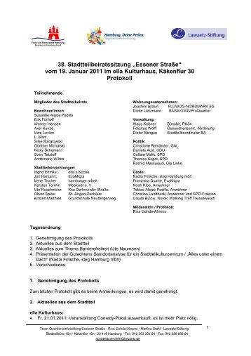 Protokoll 36 Stadtteilbeirat 241110 Quartier Essener Strasse
