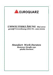Umwelterklärung 2012 - EUROQUARZ GmbH