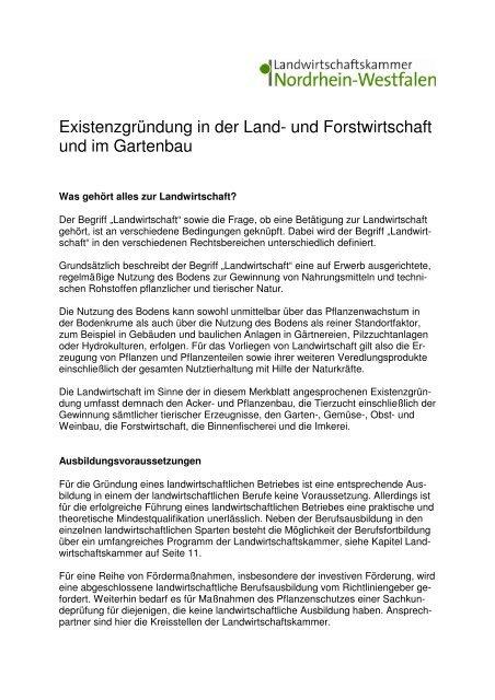Existenzgrundung In Der Land Und Forstwirtschaft Gartenbau