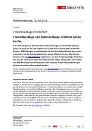 Freizeitausflüge von SBB RailAway erstmals online kaufen.