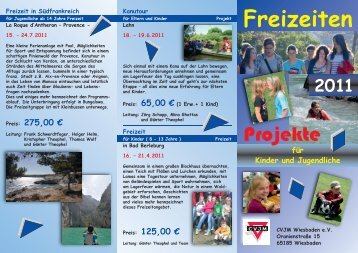 Folder Freizeiten 2011:Layout 1.qxd - CVJM Wiesbaden