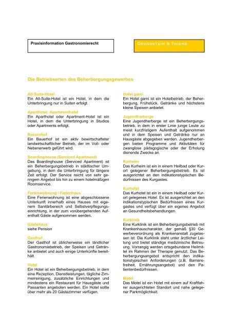 Infodienst Betriebsarten Hotel aktuell - Grundstein & Thieme