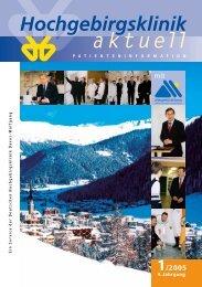 2005 1 Hochgebirgsklinik aktuell - Hochgebirgsklinik Davos-Wolfgang