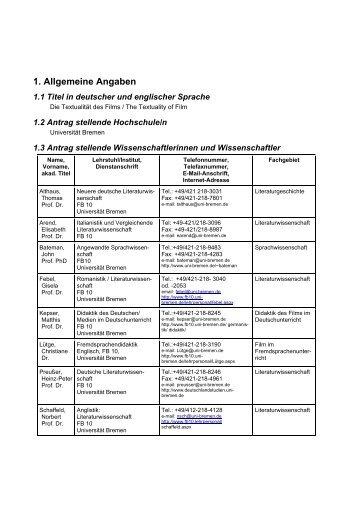 1. Allgemeine Angaben - Fachbereich 10 - Universität Bremen