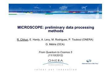 MICROSCOPE: preliminary data processing methods - ZARM