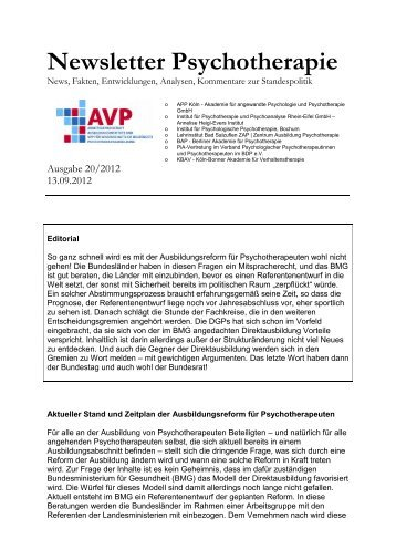 Newsletter Psychotherapie - Verband Psychologischer ...