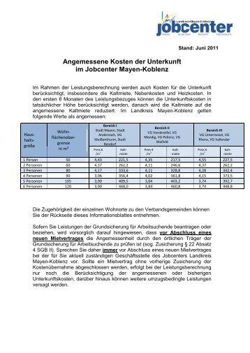 Angemessene Kosten der Unterkunft im Jobcenter Mayen-Koblenz