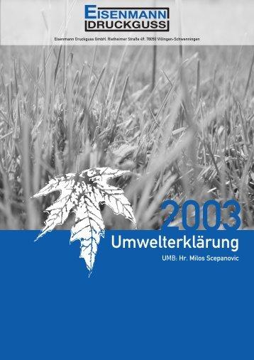 Umwelterklärung 2003 (PDF | 650 KB) - Eisenmann Druckguss GmbH