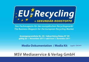 Anzeigenpreisliste Nr. 29 / Advertising Rates N° 29 ... - EU-Recycling