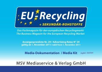 Anzeigenpreisliste Nr. 29 / Advertising Rates N° 29 ... - EU-Recycling