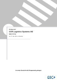 CCR Logistics Systems AG - More.de AG