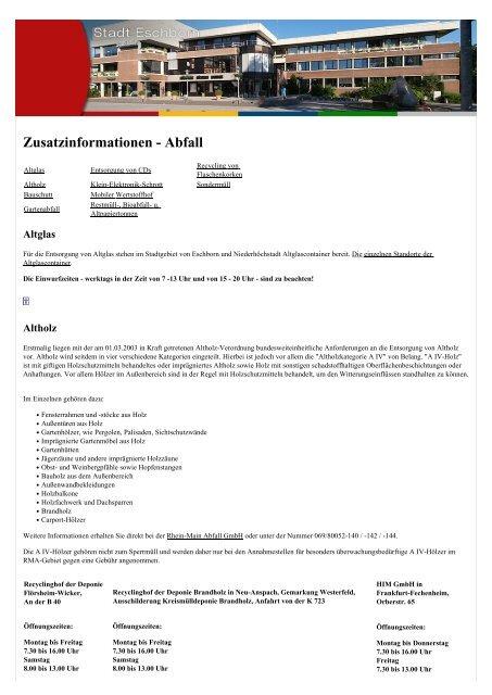 Zusatzinformationen - Abfall - Stadt Eschborn