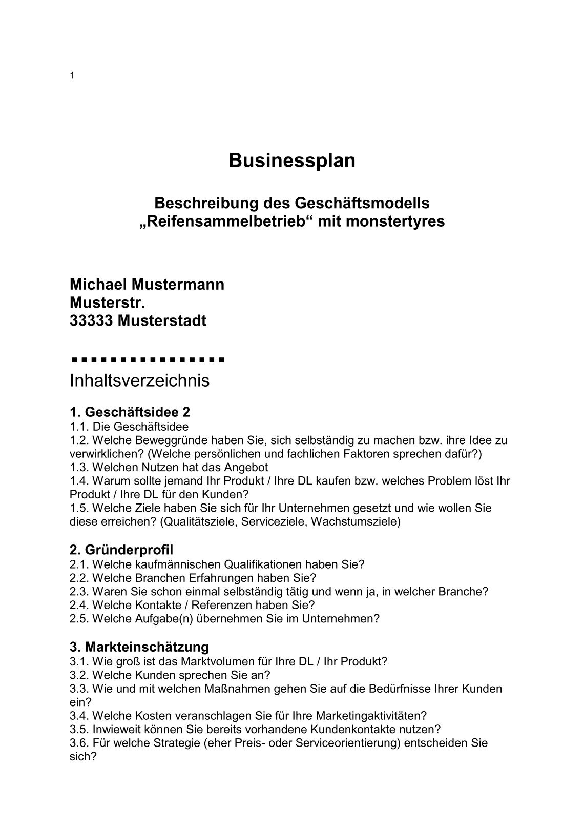 Schön Unternehmer Business Plan Vorlage Ideen - Beispiel Business ...
