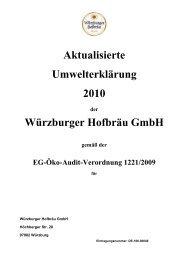 Aktualisierte Umwelterklärung 2010 Würzburger Hofbräu GmbH