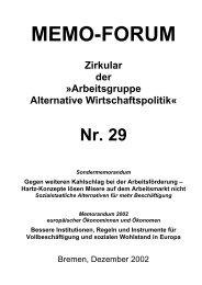 MEMO-FORUM - Arbeitsgruppe Alternative Wirtschaftspolitik ...