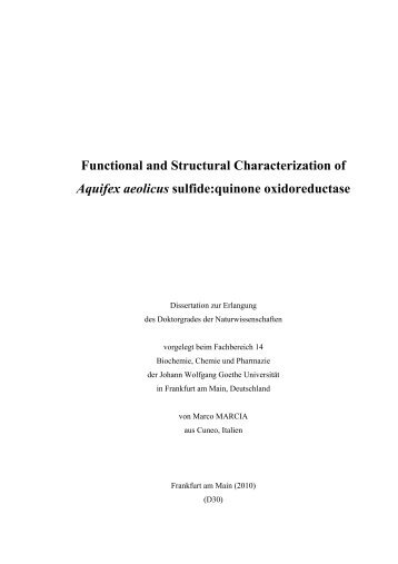 Functional and Structural Characterization of Aquifex aeolicus ...