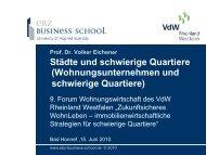Städte und schwierige Quartiere - VdW Rheinland Westfalen