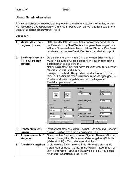 Normbrief Seite 1 übung Normbrief Erstellen Für Wiederkehrende