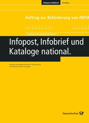 Infopost, Infobrief und Kataloge national. - ab 4,5 Cent/Stück