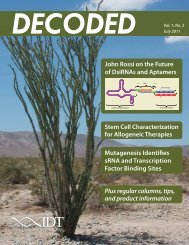 DECODED Vol. 1, No. 2 - Integrated DNA Technologies