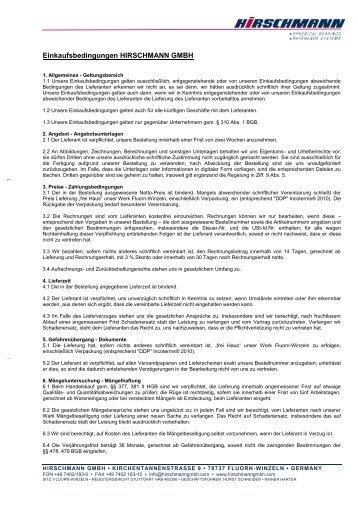 Einkaufsbedingungen (pdf) - Hirschmann GmbH