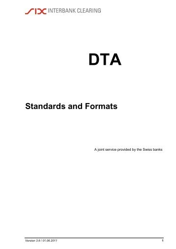 DTA Standards and Formats - SIX Interbank Clearing