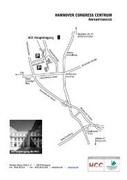 Anfahrt inkl. ÖPNV HCC Tagesgäste - Congress Hotel am Stadtpark