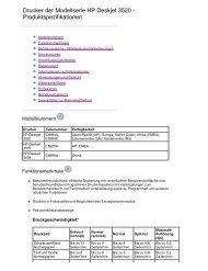 Drucker der Modellserie HP Deskjet 3520 - Produktspezifikationen
