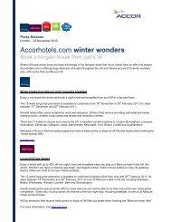 Accor Hotels Winter Offers Nov 2010