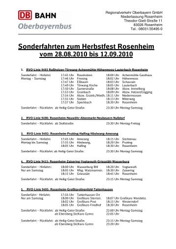 Sonderfahrten zum Herbstfest Rosenheim - Regionalverkehr ...
