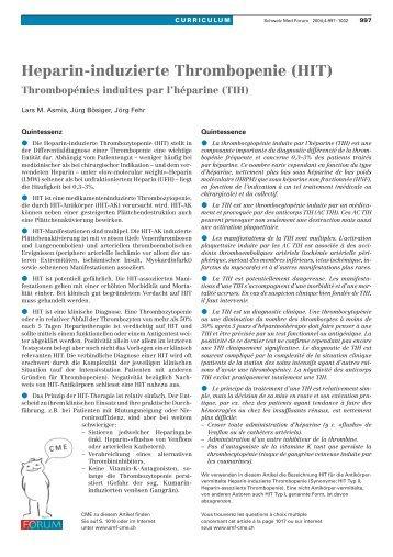 Heparin-induzierte Thrombopenie (HIT) - Swiss Medical Forum