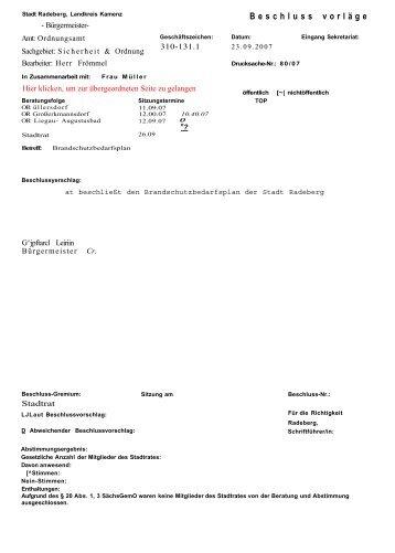 Stadtratsdrucksache 80/07 - Familie Spiegel in Radeberg