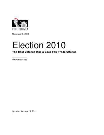 Election 2010: The Best Defense Was a Good - Public Citizen