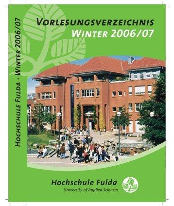 Winter 2006/07 Vorlesungsverzeichnis - Hochschule Fulda