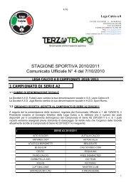 STAGIONE SPORTIVA 2010/2011 Comunicato Ufficiale N° 4 del 7 ...