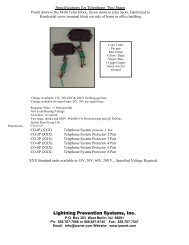 Specifications for Telephone - Lightning Prevention Systems, Inc.