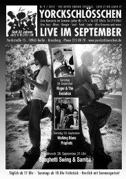 Vorschau: Live im Oktober 2012 - Yorckschlösschen